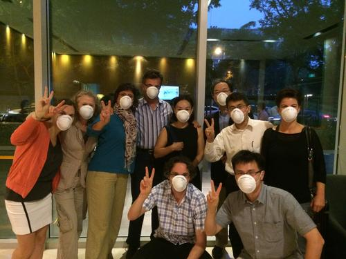 from left to right Flavia Jurje, Etel Solingen, Tanja Börzel, Thomas Risse, Soo Yeon Kim, Tobias Lenz, Hitetoshi Nakamura, Hiro Katsumata, Min Shu, Anja Jetschke. Everybody is wearing masks because of the haze in Singapore.