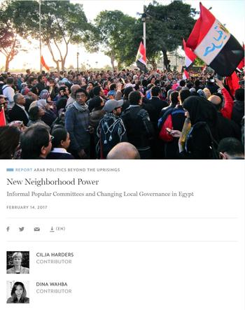 New Neighborhood Power. Informal Popular Committees and Changing Local Governance in Egypt
